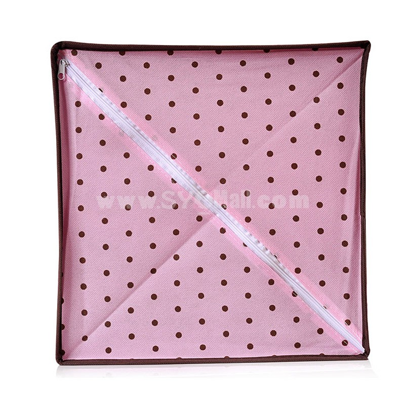 Storage Box with Double Drawers Dots Design Non-Woven Fabric (SN1364)