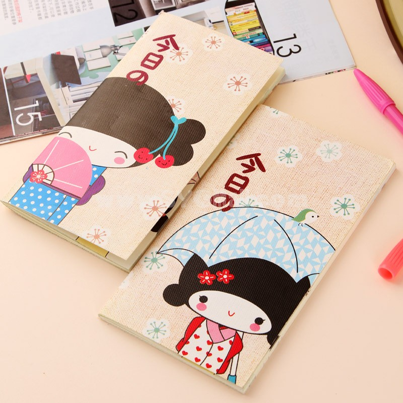 Mini Color Notebook Notepad Girls in Kimono 4-Pack (W2054)