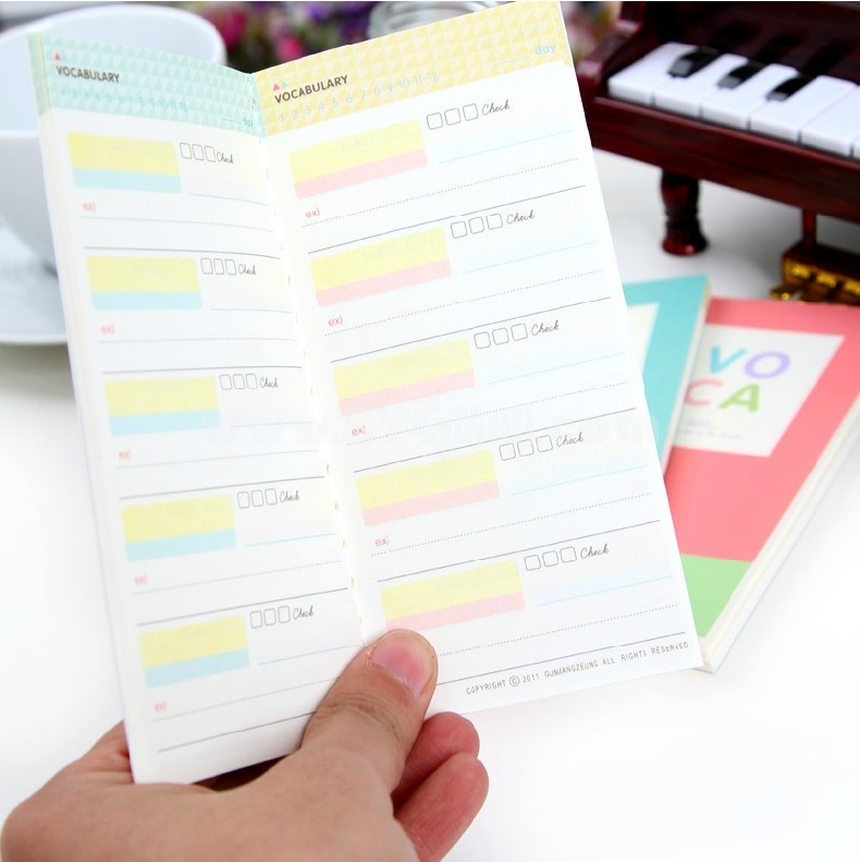 VOCA Mini Color Notebook Notepad for Studying Words / Schedule 4-Pack (W1956)