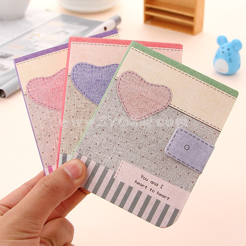 Mini Notebook Notepad Heart&Fabric Style 4-Pack (W2134)
