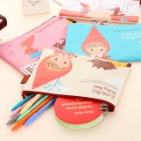 Wholesale - Mini Storage Bag/Pouch for stationery/Bills Canvas Lovely Girl in Red Hat (W2156)