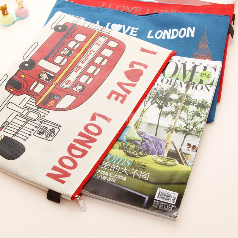 Mini Storage Bag/Pouch A4 London Impression Style Canvas (SN2053)