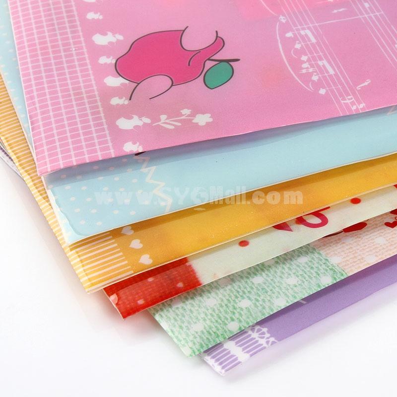 Storage Bag/Pouch for Files/Magnizes Transparent Cartoon Animal Design PVC 5-Pack (W1207)