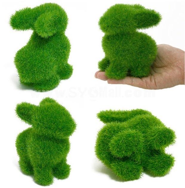 Creative Grass Land Artifical Grass Animall Decor Rabbit Pattern