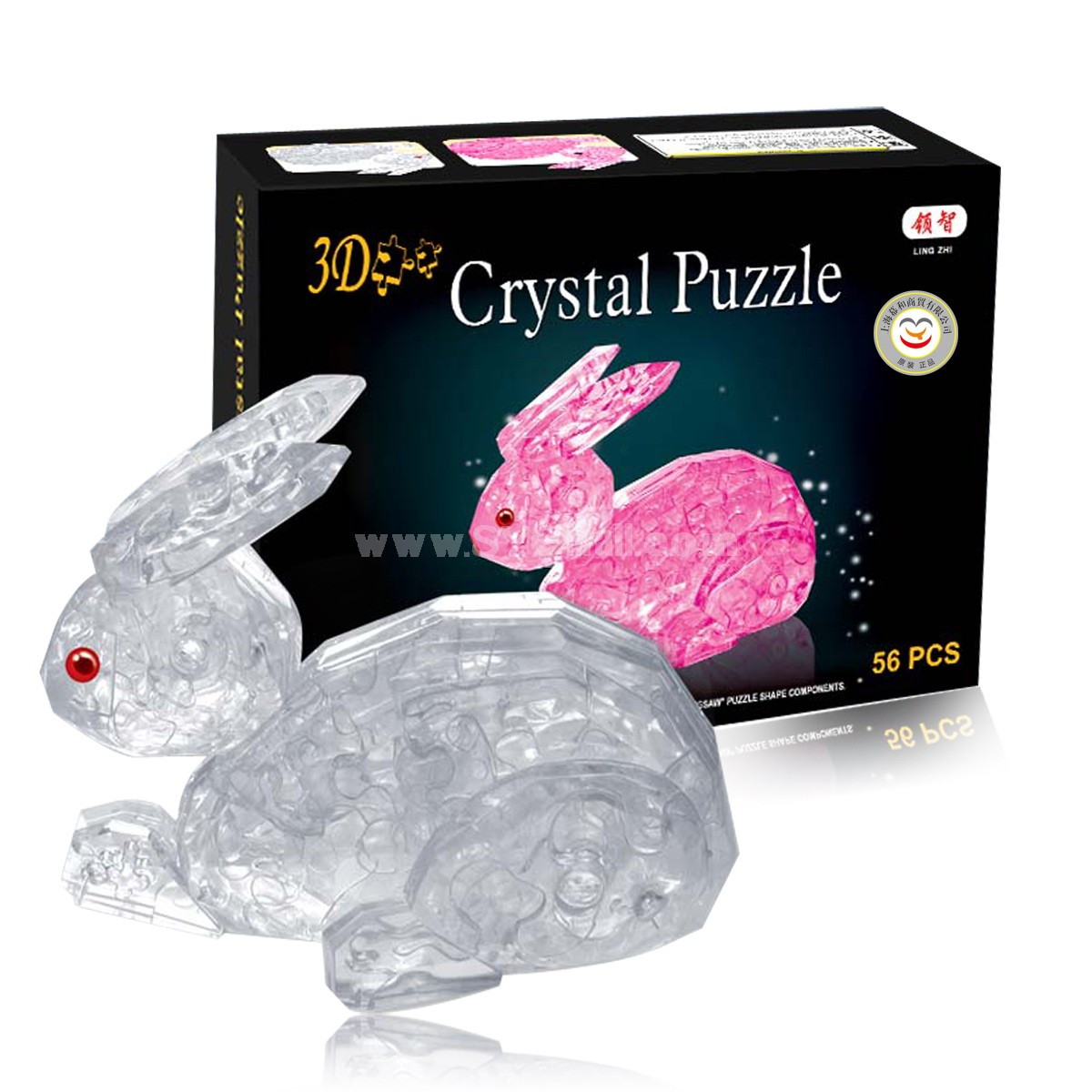 56-in-1 3D Rabbit Crystal Jigsaw Puzzle 2Pcs