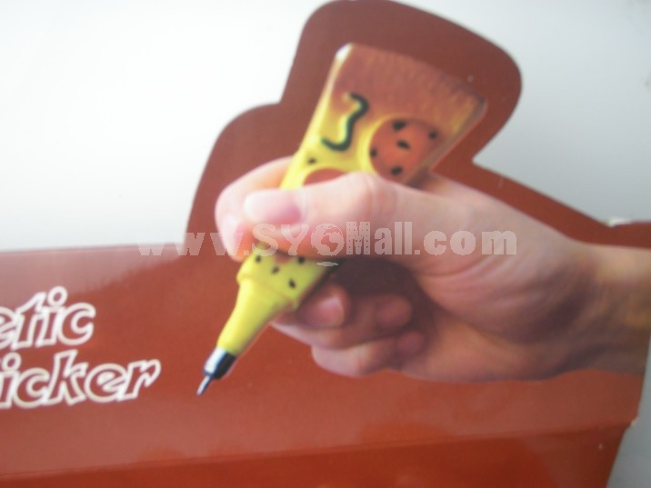 Creative Pizza Pen With Magnetic Sticker 2PCs