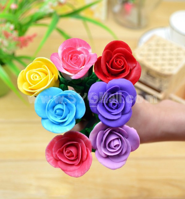 Cute Polymer Clay Rose Pen 3PCs