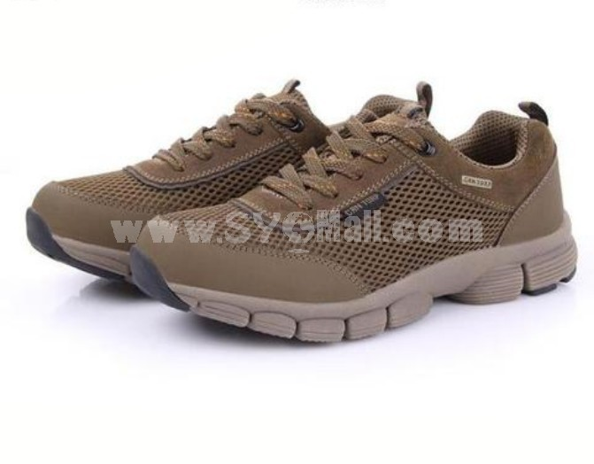 CANTORP Men's Breathable Air Mesh Outdoor Hiking Shoes Extra Light Leather