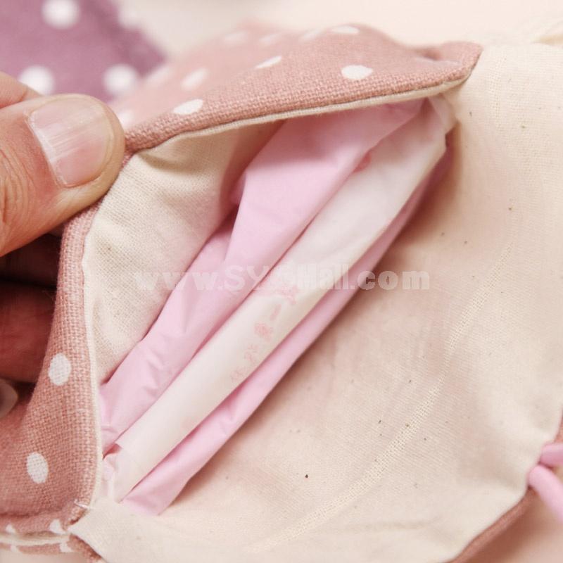 Mini Storage Bag/Napkin Bag Case Dots Design Cotton (P2744)