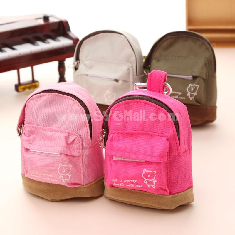 UltraMini Storage Bag for Coins/Keys Schoolbag Shape Canvas (W2138)