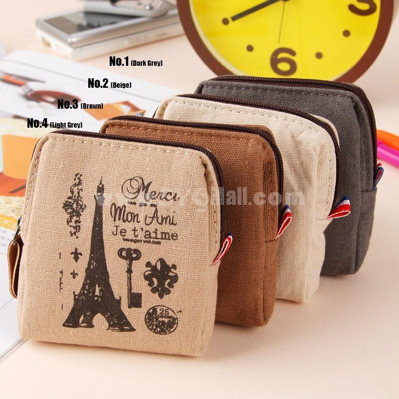 Storage Bag/Case/Purse Paris Impression Canvas (P2444)