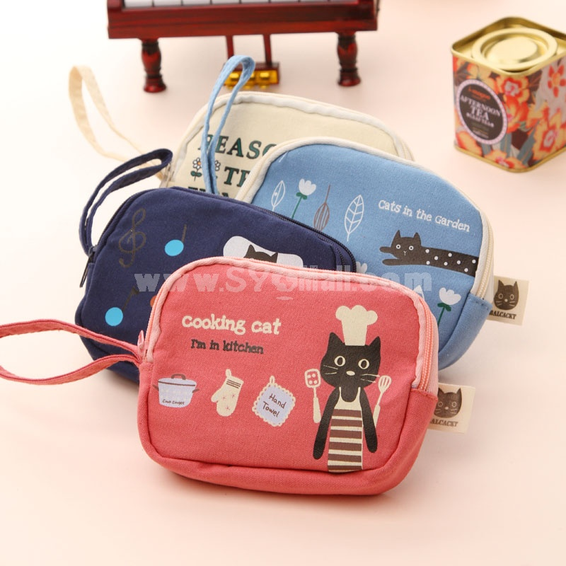 Storage Bag/Handbag/Purse Cartoon Style Lovely Cat Double Zippers  (W2146)