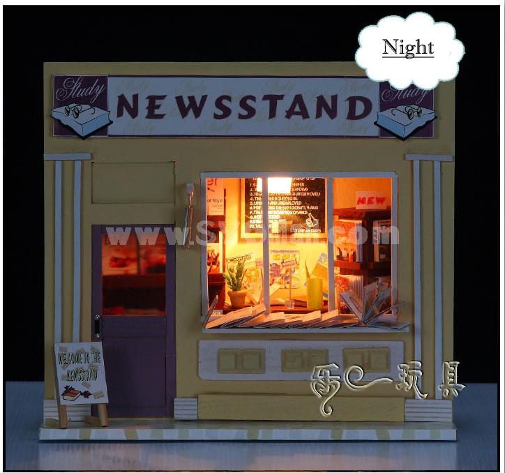 13510 NEWSSTAND Wooden DIY Handmade Assembly Mini House