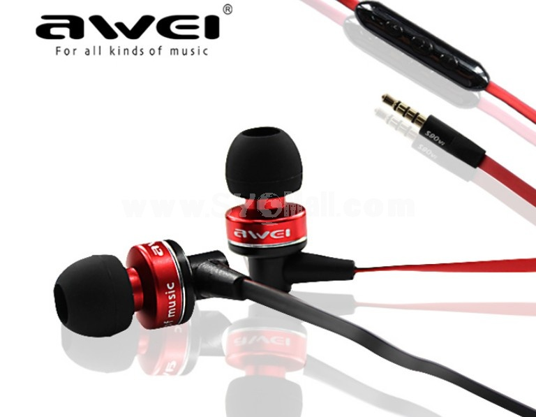 AWEI S90VI Flat Wire Dynamic In-Ear Headphone with Microphone