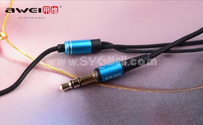 AWEI ES-Q3I 3.5mm Plug In-ear Stereo Earphone with Microphone