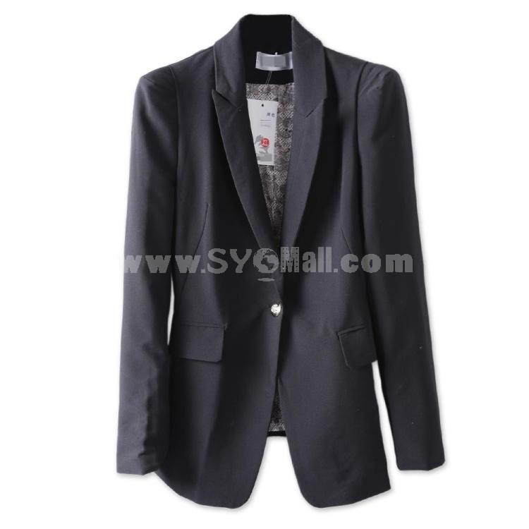 Simple OL Style Casual Slim Suit with Button
