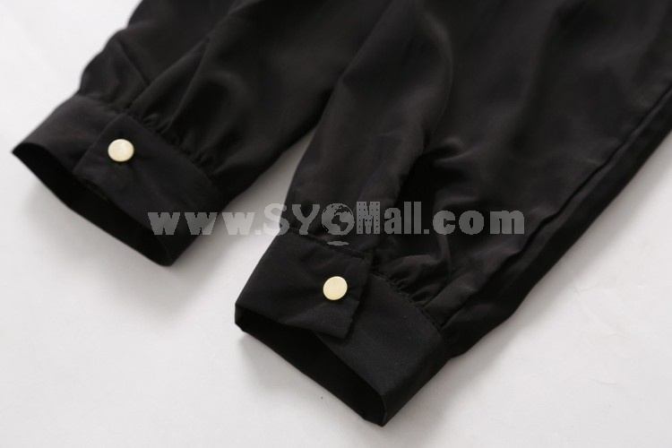 Stylish Zipper Silk Leopard Pattern Jacket
