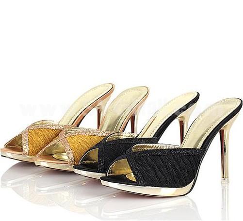 Shiny Stilette Heel Sandals/Slippers