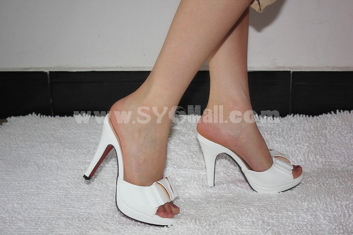 Stilette Heel Sandals/Slippers with Bowknot