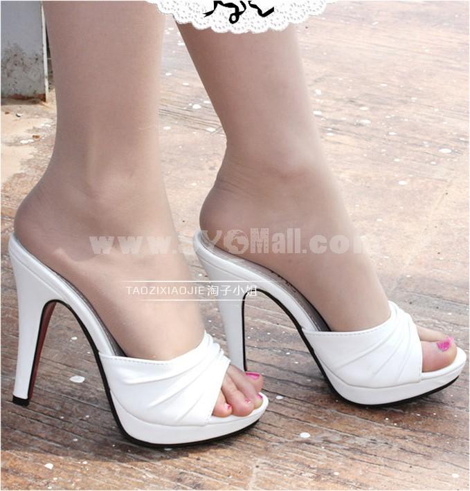 Leatherette Stilette Heel Sandals/Slippers