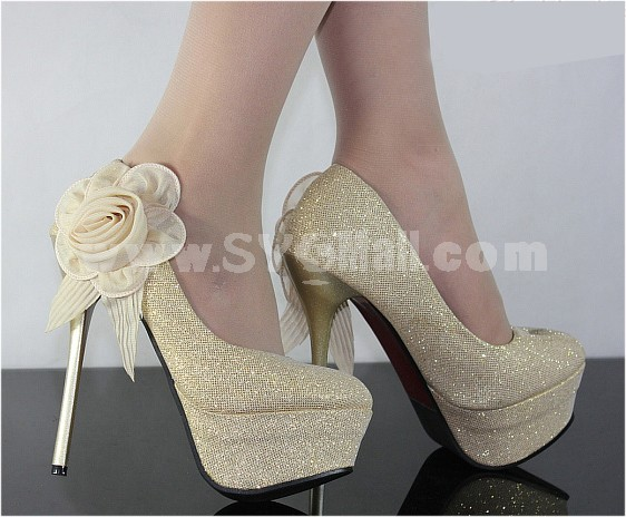 Canvas Flora Stilette Heel Closed Toe Shoes