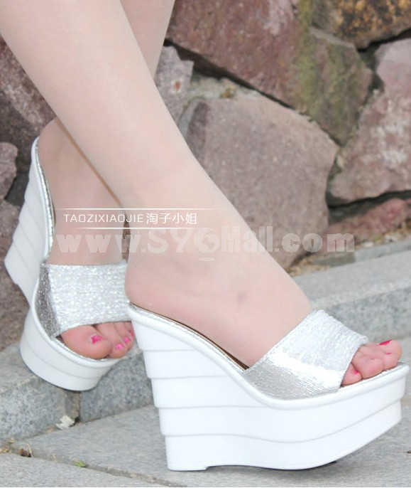 Leatherette Wedge Heel Sandals