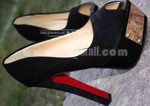 Peep Toe Chunky Heel Shoes