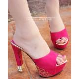 Wholesale - Rhinestone Chunky Heel Sandals