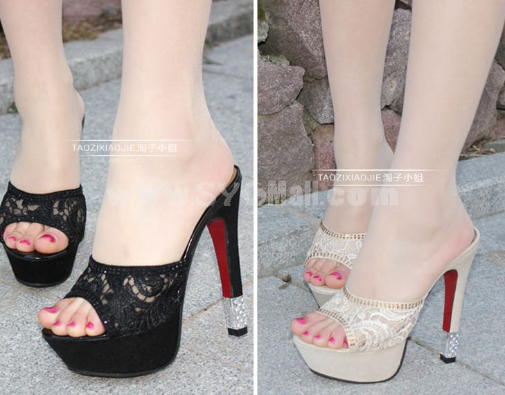 Lace Chunky Heel Sandals