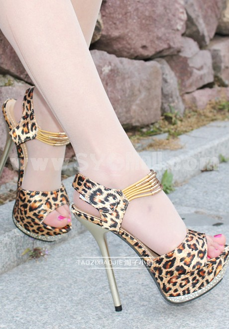 Leopard Stilette Heel Sandals