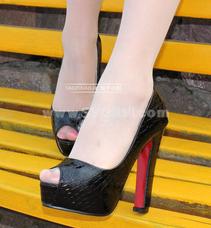 Leatherette Chunky Heel Peep Toe Shoes