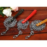 Wholesale - Mental Chain Dog Collar with Leash for Middle-sized/Large Dogs Man-made Leather Handle