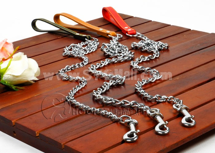 Mental Chain Dog Collar with Leash for Middle-sized/Large Dogs Man-made Leather Handle