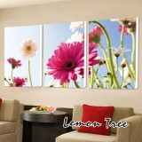 Wholesale - Modern Simple Style Home-super 3pcs 15mm Ply Waterproof African Daisy Wall Frameless Mural Painting Each Size 40*60c