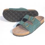 Wholesale - Blackish Green 2 Buckles Nubuck Leather Corkwood Sandals