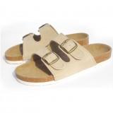 Wholesale - Cream 2 Buckles Nubuck Leather Corkwood Sandals