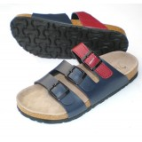 Wholesale - Red and Blue 3 Buckles PU Leather Corkwood Sandals