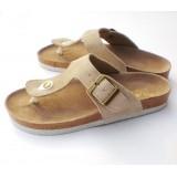Wholesale - Cream Flip-flop Nubuck Leather Corkwood Sandals