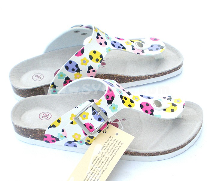 Little Ladybug Printing PU Leather Corkwood Sandals
