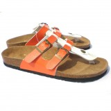 Wholesale - Orange and White Color Matching 2 Buckles Flip-flop Corkwood Sandals