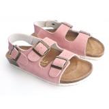 Wholesale - Pink 3 Buckles Nubuck Leather Corkwood Sandals