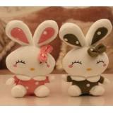 Wholesale - Rabbits Plush Toys Stuffed Animals Set 2Pcs 18cm/7Inch Tall