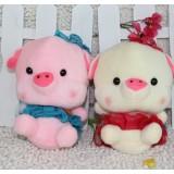Wholesale - Pig in Dress Plush Toys Stuffed Animals Set 2Pcs 18cm/7Inch Tall