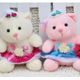 Wholesale - Wedding Bear Plush Toys Stuffed Animals Set 3Pcs 18cm/7Inch Tall