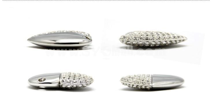 Silver Rhinestone Loving Heart Shape 8G USB