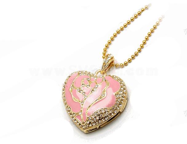 Pink Rhinestone Loving Heart Shape 8G USB