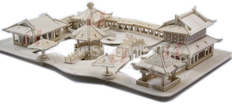 Creative DIY 3D Wooden Jigsaw Puzzle Model - Chinese Garden
