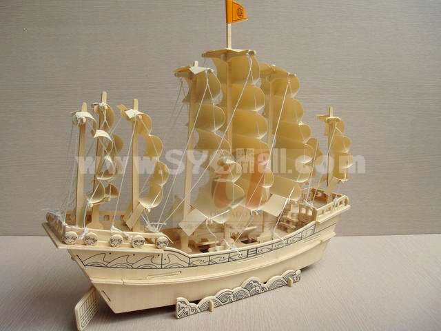 Creative DIY 3D Wooden Jigsaw Puzzle Model - Ancient Sailing Vessel