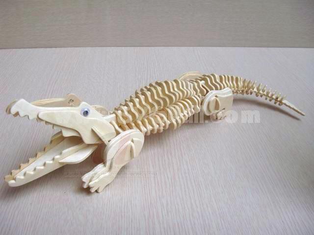 Creative DIY 3D Wooden Jigsaw Puzzle Model - Crocodile