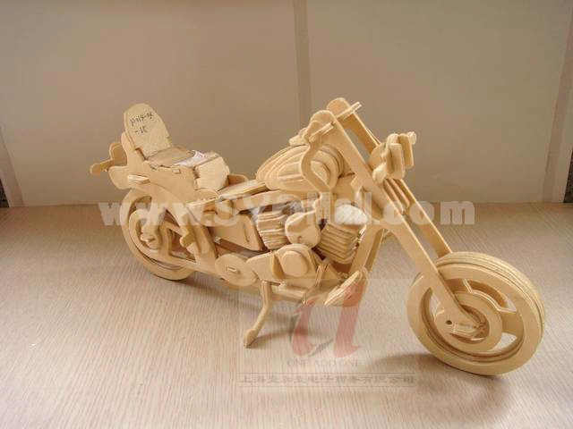 Creative DIY 3D Wooden Jigsaw Puzzle Model - Harley Motorcycle